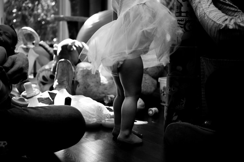 Seattle Family Documentary Photography, little girl playing in tutu