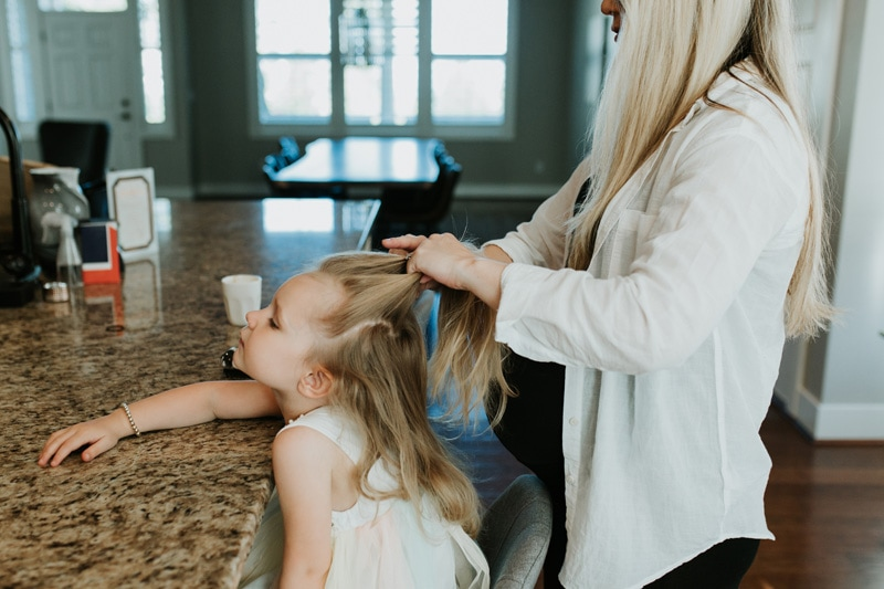 Seattle Family Documentary Photography, mother braiding little girl's hair