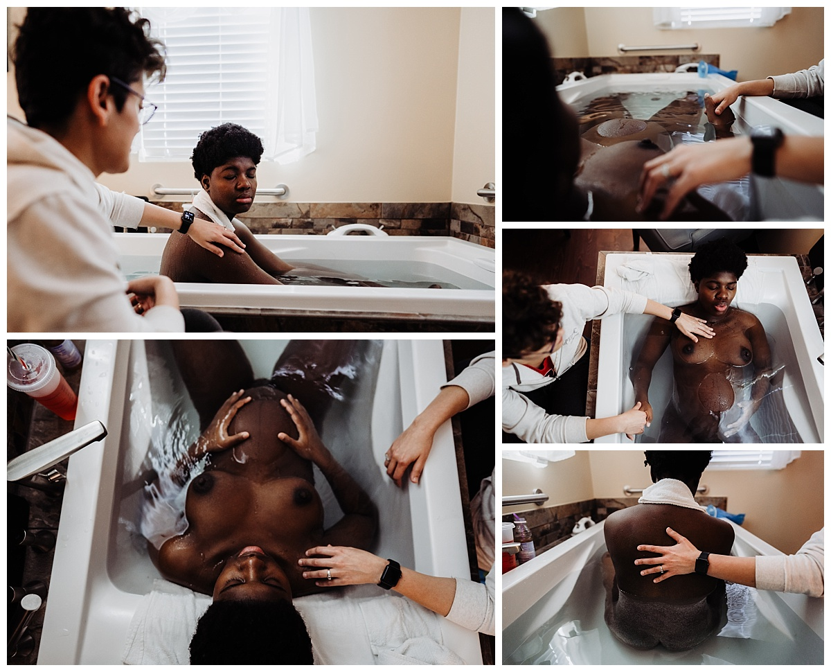 a collage of images showing birthing person using the tub during labor while the partner sits near by holding her had or touching her shoulder