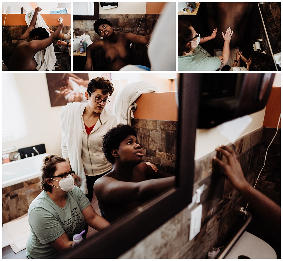 series of collage images showing birthing person laboring backwards on the toilet with the support of the nurse and her partner at the Denver Center for Birth in Denver Colorado