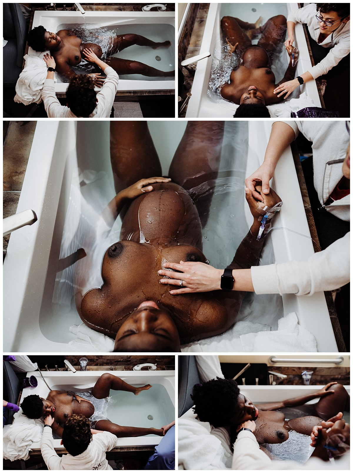a series of images showing the birthing person stretched out in the tub at the birth center with her partner pouring water over her chest, holding her hand and her shoulder