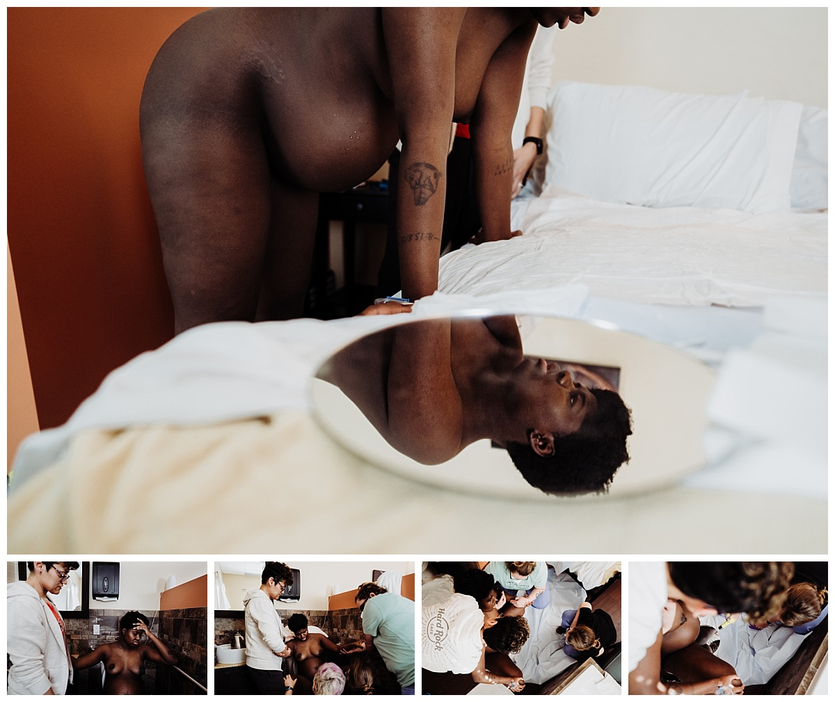 a series of collage images of the birthing person leaning over the bed, her face visible in a circular mirror placed at the foot of the bed, her partner and nurse supporting her while she labors on the tub and the pushing on the birth stool