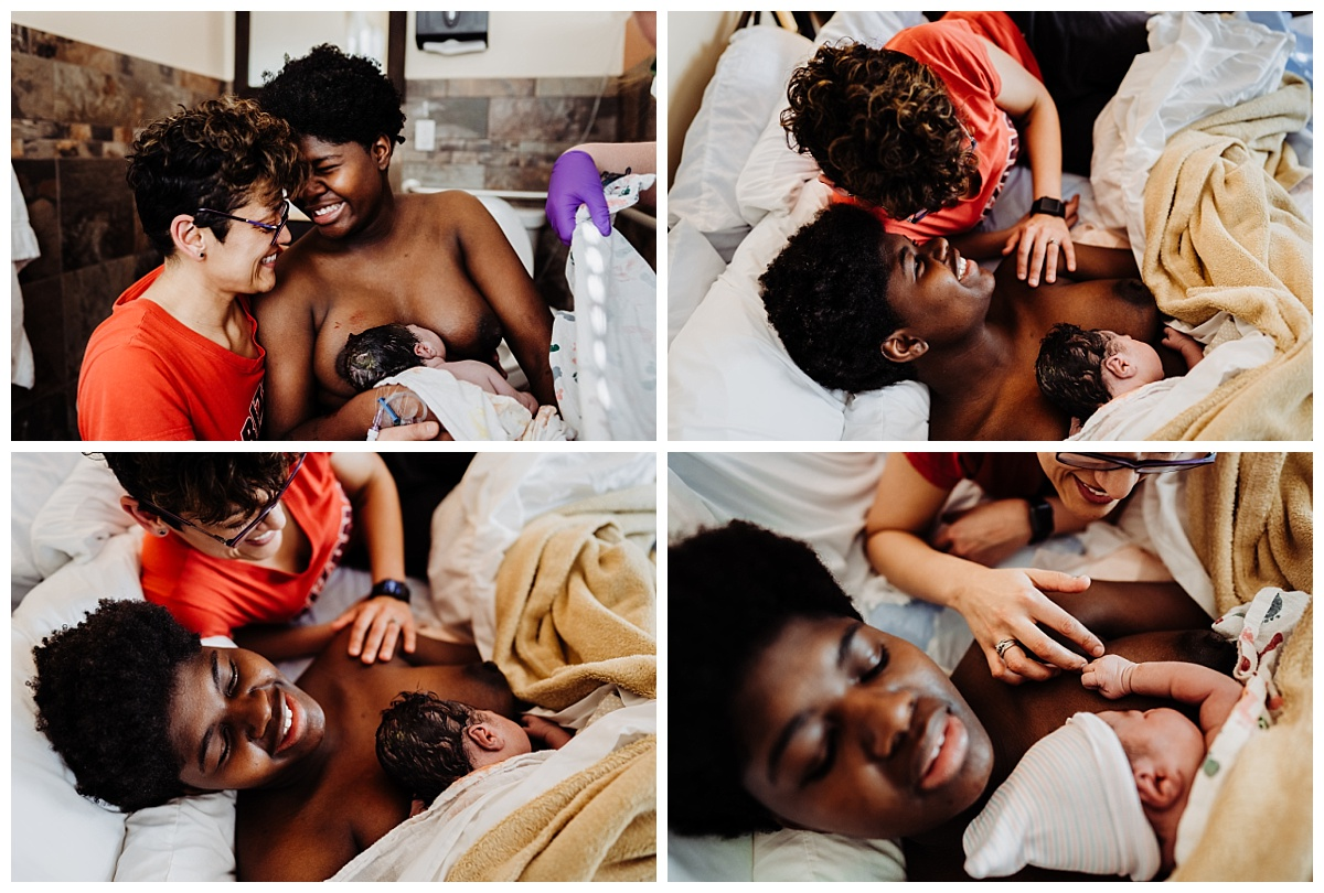 a series of collage images showing birthing person and her partner in loving embrace holding baby skin to skin moments after birth at the Denver Center for Birth